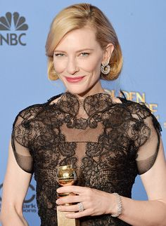 Show stopping: For the Golden Globes, Cate Blanchett's Chopard earrings featured 11 carats of marquise-cut white diamonds set in a laurel design. Also, a white diamond bracelet set in platinum that weighed in at a whopping 35-carats.