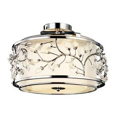 Kichler Lighting Jardine 15.5-In W Chrome Etched Glass Crystal Accent