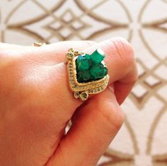 Customize your perfect ring! A one of a kind emerald and gold handcrafted ring @dawesdesignjewelry Gemstone inspiration! #emerald #ring #elizapage #customjewelry
