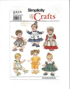 Simplicity 9434 Pattern for Doll Clothes for Small & Medium, Large Doll, From 1989, Partial UNCUT, Vintage Pattern, Home Sewing Pattern by VictorianWardrobe on Etsy