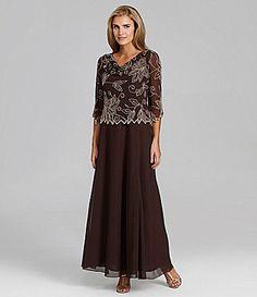 Jkara 3/4-Sleeve Floral-Beaded Gown