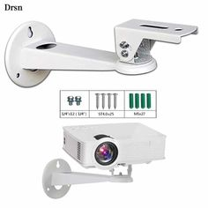 Drsn Mini Projector Wall Mount Mini Wall Mount CCTV DVR Camera Mount Projector Hanger with Load lbs Length inch Mounting Screw inch Rotation 360 White for Mini Projector Canera Camcorder Projector Ceiling Mount, Best Projector, Dvr Camera, Installation Manual, Steel Material, Luxurious Bedrooms, Wall Hanger, Computer Accessories, Mini
