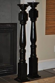 stair rail posts - turned into tall candle holders. This would be pretty on your fireplace!