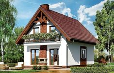 Home design plan with 3 Bedrooms - Home Ideas House With Balcony, House Plan With Loft, Family House Plans, Cottage House Plans, Small House Plans, House In The Woods, Small Cottage Homes, Cottage Style Homes, Style At Home