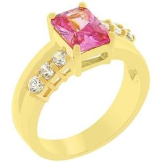 Gold Tourmaline Cocktail Ring Pink Cubic Zirconia Princess Cut Size 5 10 USA #Unbranded #Cocktail
