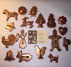 Vintage Mirro Copper Tone Aluminum Holiday/Christmas Cookie Cutters Lot Of 17