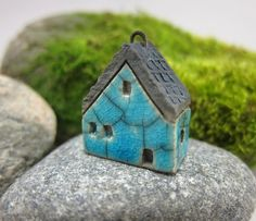 Crackled TURQUOISESaggar Fired Rustic House Pendant / by elukka, €8.00