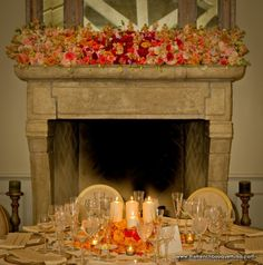 Fireplace Mantle Design, all whites with hanging crystal strands