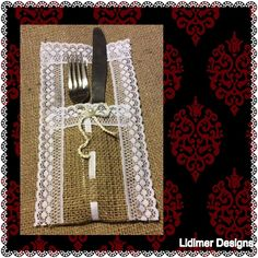 Shabby Silverware Holder,Burlap Rustic Country Wedding, Lace, Crochet Lace Pearl