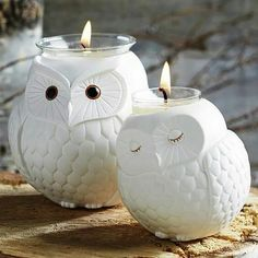 Owl candle holders. Love these!                                                                                                                                                     More