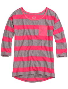 Striped Comfy Pocket Tee | Long Sleeve | Tops & Tanks | Shop Justice