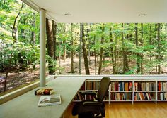 Gluck+ architects, Scholar's Library, Catskill Mountains, cubic shelter, woodland retreat, study shelter