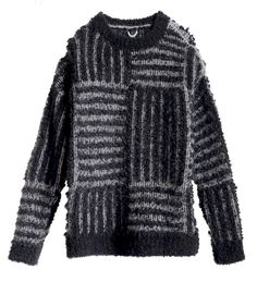 VON SONO Striped Knitted Sweater: This dual colour striped patterned knit jumper by VON SONO is made in Belgium.