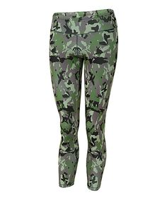 Active Fit Gray & Green Camo Leggings by Active Fit #zulily #zulilyfinds