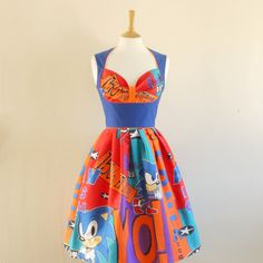Sonic the Hedgehog Print Heidi Dress - made by Dig For Victory