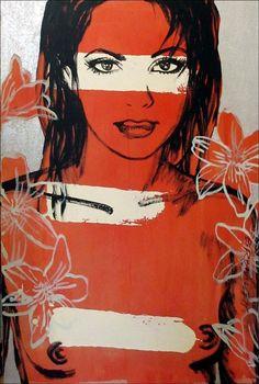 DAVID BROMLEY Nude  Belinda  Polymer & Silver Leaf on Canvas 90cm x 60cm