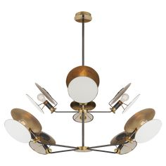 Osiris Large Reflector Chandelier In Bronze And Hand Rubbed Antique Brass With Linen Diffuser Chandelier by Circa Lighting Ceiling Light Design, Chandelier Ceiling Lights, Ceiling Lamp, Chandeliers, Antique Brass Chandelier, Antique Lighting, Visual Comfort Lighting, Thomas O'brien, Circa Lighting