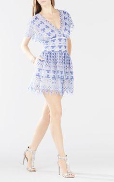 Bcbg sheer lace dress blue