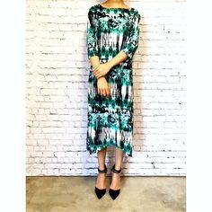 Jessica Dress 3/4 Sleeves Shark Bite Hem Black Green Tie Dye #beapostolic #ucanonlyimagine #modestapparel #apostolicclothing #modestclothing