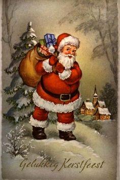 Santa - A Merry Christmas. Vintage Christmas Images, Retro Christmas, Vintage Holiday, Christmas Art, Christmas Greetings, Winter Christmas, Christmas Postcards, Christmas Traditions, Old Time Christmas