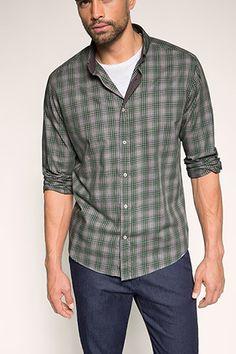 Esprit / Geruit buttondownoverhemd, 100% katoen