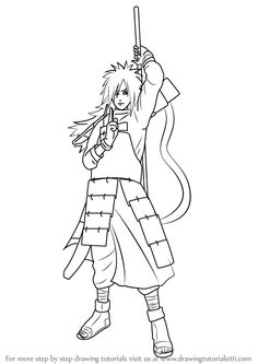 Anime Drawing Tutorial Learn How to Draw Madara Uchiha from Naruto (Naruto) Step by Step : Drawing Tutorials Anime Character Drawing, Manga Drawing, Learn Drawing, Naruto Drawings Easy, Easy Drawings, Manga Anime, Anime Art, Kid Kakashi, Anime Lineart