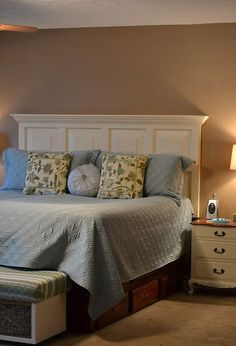 8 paneled door headboard, doors, repurposing upcycling, woodworking projects