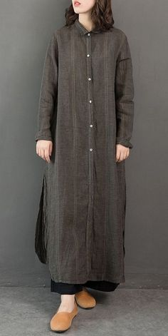 Vintage Loose Linen Long Shirt Women Casual Blouse - Clothes and Crafts Casual Dresses For Women, Casual Outfits, Clothes For Women, Casual Clothes, Kurta Designs, Casual Chic, Jacket Outfit, Hijab Stile, Modele Hijab