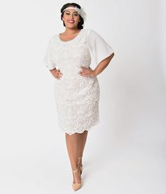 e200879b Plus Size 1920s Style Ivory & Light Beige Lace Short Sleeve Flapper Dress  Plus Size Ivory