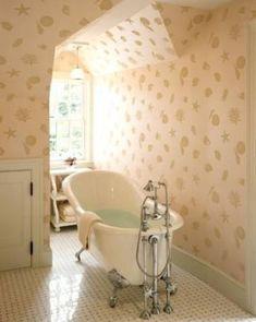 Elegant Bathroom Wall Decor Lovely Seashell Wallpaper Home Design Ideas Remodel and Decor Downstairs Bathroom, Bathroom Wall Decor, Bathroom Interior, Bathroom Ideas, Shower Ideas, Gold Bathroom, Bathroom Layout, Bathroom Designs, Kmart Bathroom