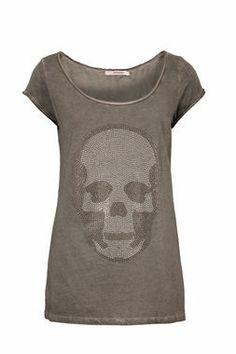 Shirt mit Strass-Totenkopf