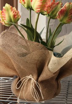 Burlap Gift Wrap - Two Layers Natural and Ivory. Not just for pots, but for any gift worth giving !!