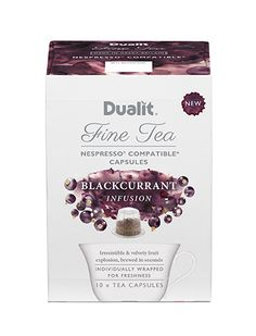 Dualit NX Fine Tea Capsule – Blackcurrant Infusion Irresistible Fruit Explosion If you like fruit infusions, this takes them to a whole new level. Bursting with lively fruit flavours, this is an irresistible and velvety taste explosion. Nespresso, Brewing, Place Card Holders, Tea, Fruit, Coffee, Logos, Google, Products