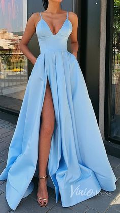 dress Formal outfit - A Line Blue Satin Long Prom Dresses, V Neck High Slit Formal Evening Dresses with Pockets Prom Dresses With Pockets, Straps Prom Dresses, Pretty Prom Dresses, Prom Dresses Blue, Formal Evening Dresses, Dance Dresses, Satin Dresses, Ball Dresses, Elegant Dresses