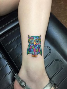 My first tattoo! A stained glass owl by Jason Standridge at Dermagraphic Studios in Texarkana Texas.