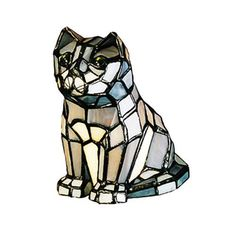 "Meyda 7""H Cat Tiffany Glass Accent Lamp"
