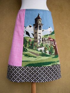 Tilting Tower of St. Moritz embroidery Aline skirt by LUREaLURE, €60.00