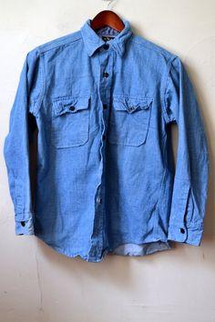 RARE Vintage C.P.O. Naval Style Denim Chambray Shirt Chest Patch Pockets Work Shirt Approximately Size M Medium
