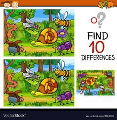 Cartoon Illustration of Finding Differences Educational Game for Preschool Children , General Knowledge For Kids, Find The Difference Pictures, Kids Word Search, Hidden Pictures, Character Sheet, Activity Sheets, Educational Games, Craft Activities For Kids, Different