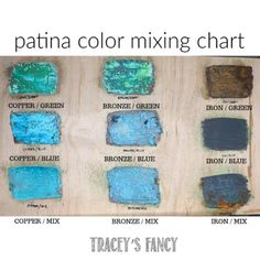 Patina Color Mixing Chart – metal of life Patina Paint, Patina Color, Copper Spray Paint, Painting Tips, Painting Process, Faux Painting, Color Mixing Chart, Paint Furniture, Furniture Decor