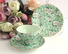 Vintage trio, Shelley daisies pattern, cup, saucer, plate, white daisies with green background, gilt edges, mid 20th century by CardCurios on Etsy