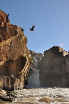 Cliff jumping in Swaziland