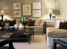 A very homey family room designed by Brian Gluckstein.