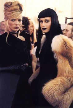 Esther Canadas and Natalia Semanova, backstage at Jean Paul Gaultier Fall 1998