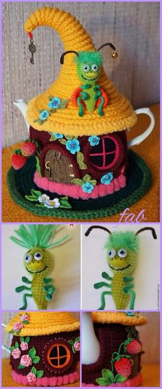 Crochet Fairy House Teapot Cozy Free Patterns tutorials