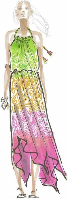 The beautiful sketch of our Sarah printed maxi has radiant results! #CalypsoStyle
