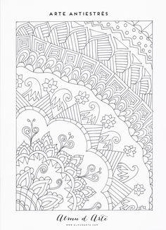 Dibujos antiestrés pintados a mano para descargar gratis y colorear. Laminas en A4 con 7 motivos diferentes para desconectar y relajarnos