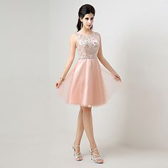 Cocktail+Party+Dress+A-line+Jewel+Knee-length+with+Beading+–+USD+$+69.99