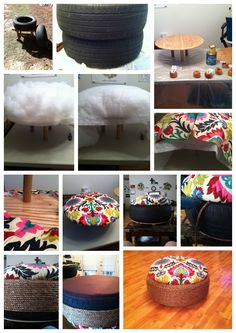 Old tires turned ottomans. I so need to do this with the hundred tires my husband has.lol