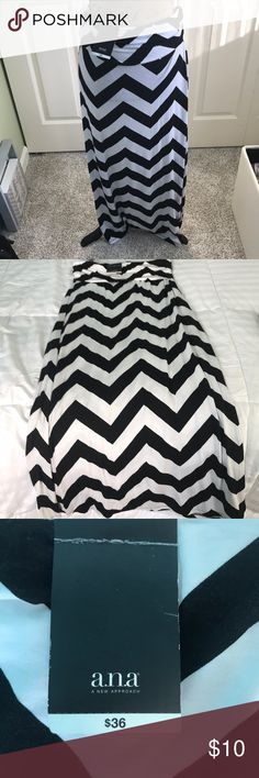 Black and white chevron maxi skirt! Black and white chevron patterned maxi skirt, BRAND NEW NEVER WORN. Soft flowy material a.n.a Skirts Maxi